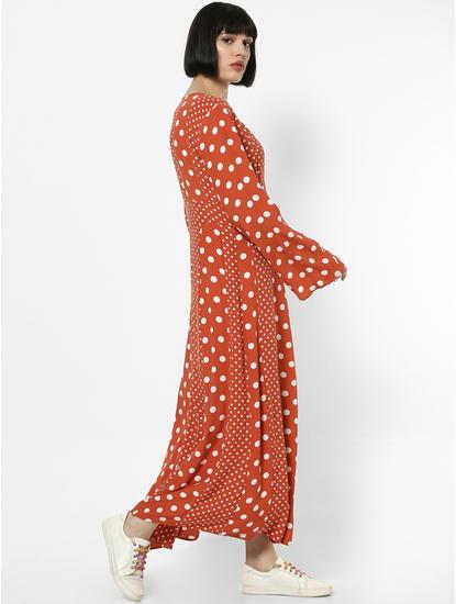 Rust Polka Dot Maxi Dress