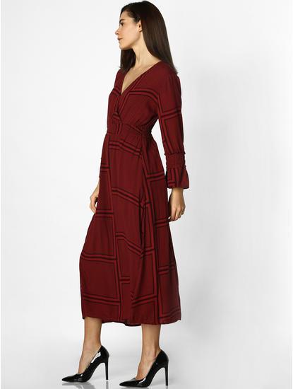 Maroon Printed Side Slit Midi Dress