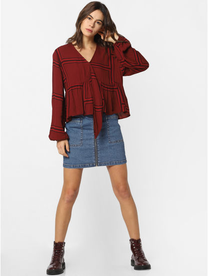Maroon Printed Cropped Flounce Top