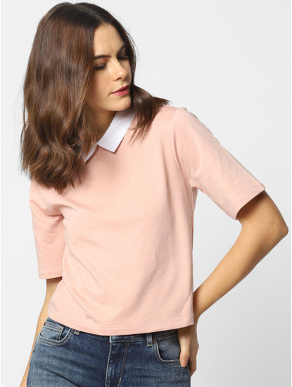 Peach Colourblocked Cropped T-Shirt