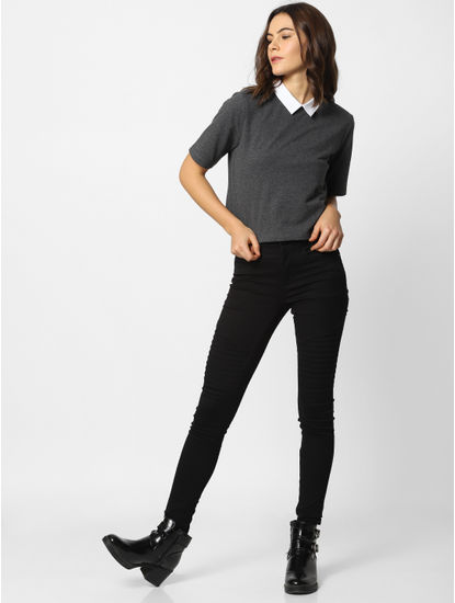 Grey Colourblocked Cropped T-Shirt