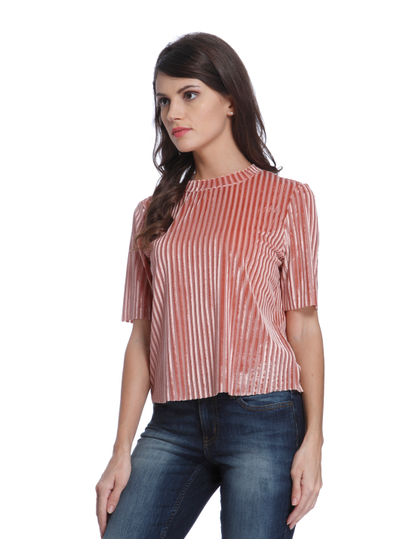 Pink Ribbed Velvet Top