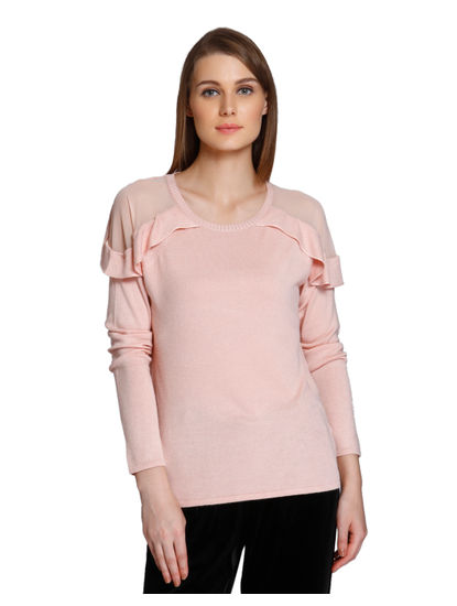 Pink Ruffle Pullover