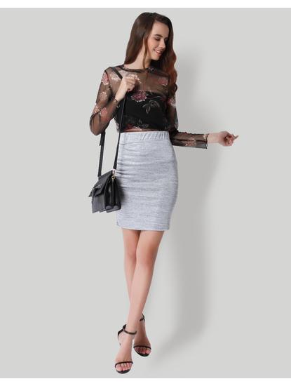 Grey Mid Rise Pencil Skirt