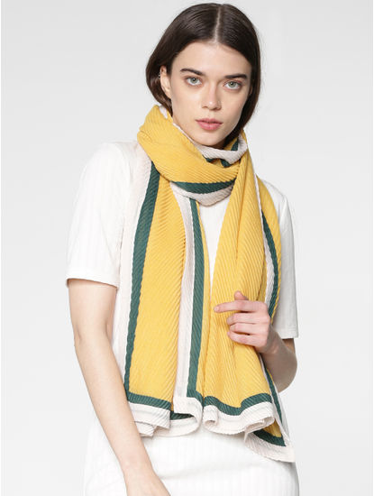 Yellow Pleated Scarf