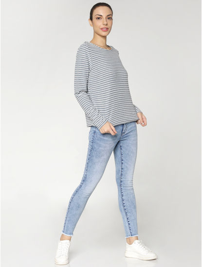 Light Blue Mid Rise Distressed Skinny Jeans