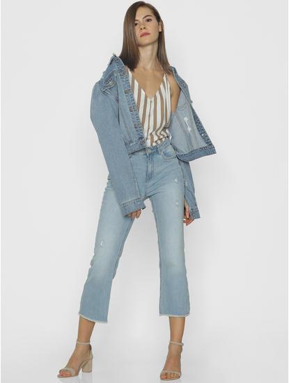 Blue Mid Rise Frayed Hem Comfort Fit Jeans