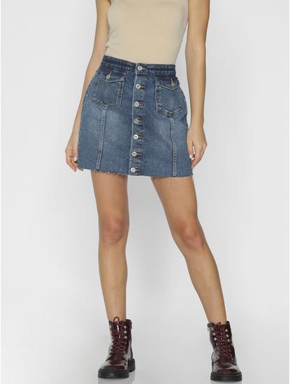 Blue Mid Rise Mini Denim Skirt