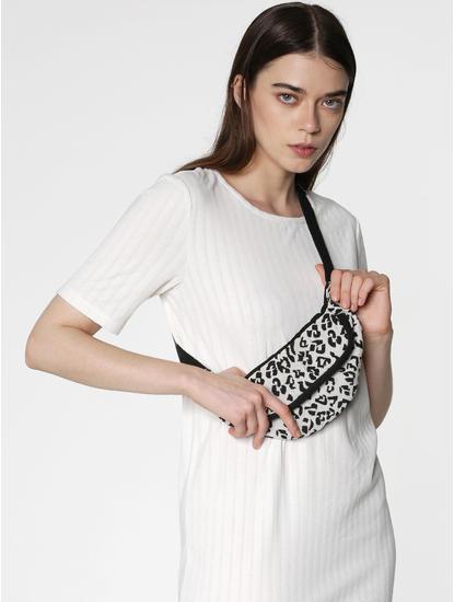 White Animal Print Bum Bag