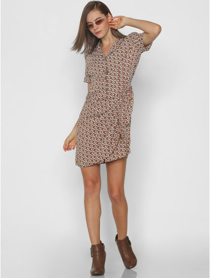 Brown All Over Print Shirt Dress