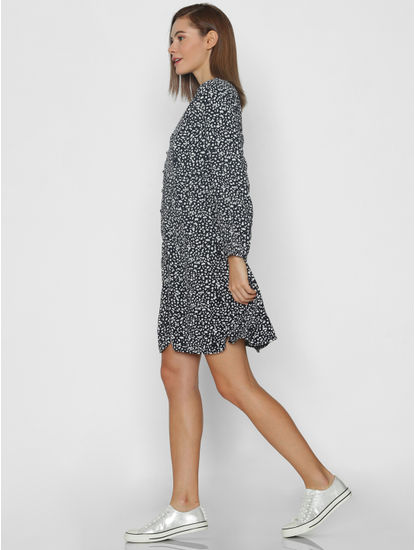 Navy Blue Printed Fit & Flare Dress
