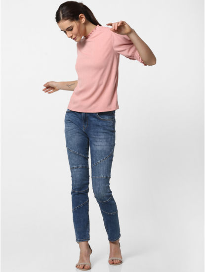 Blue Mid Rise Stitch Line Detail Skinny Jeans