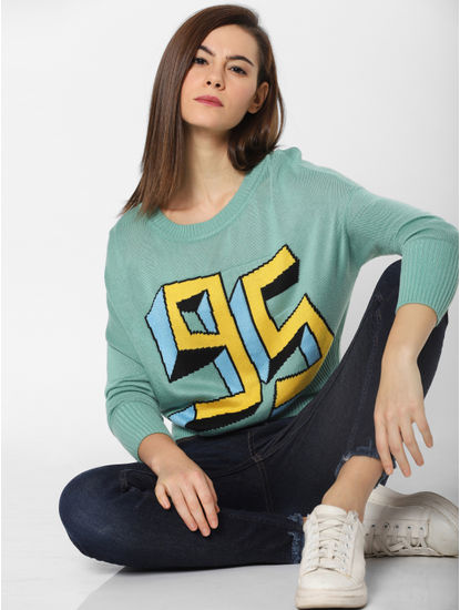 Green Graphic Print Pullover