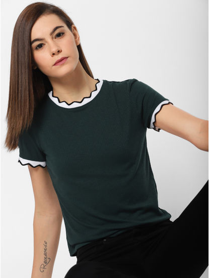 Green Contrast Tipping Ribbed Top