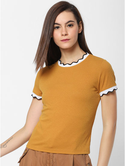 Mustard Contrast Tipping Ribbed Top