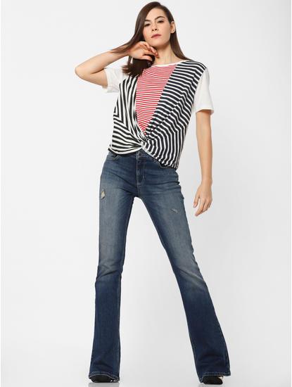 White Striped Front Twist Top