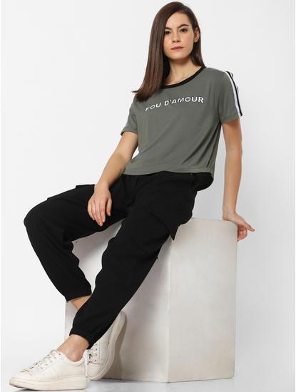 Dark Green Text Print T-shirt