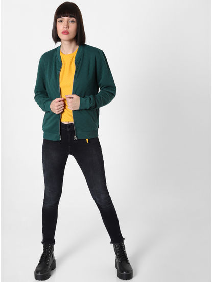 Green Zip Up Bomber Jacket