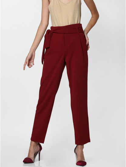 Dark Red High Rise Belted Pants