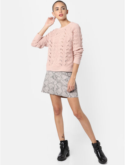 Pink Textured Pullover