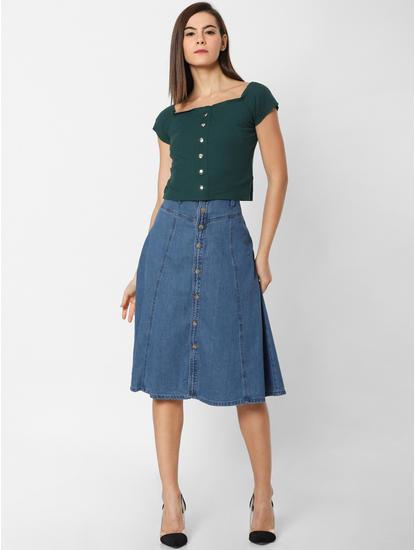Blue High Rise Flared Denim Skirt