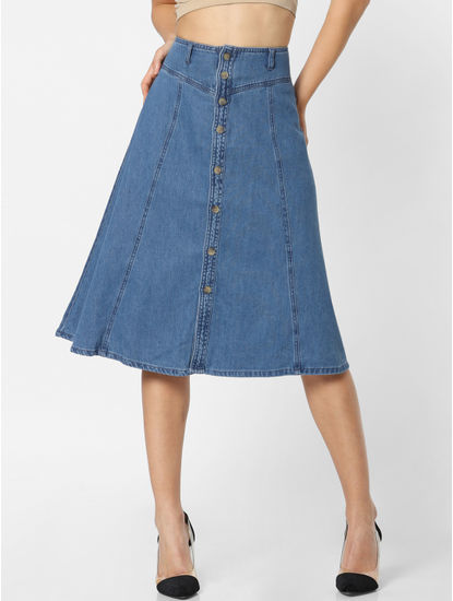 Blue High Rise Flared Denim Skirt