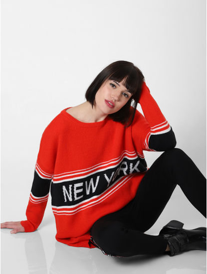 Red New York Print Loose Pullover
