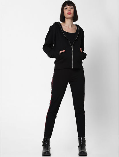 Black Zip Up Hooded Sweatshirt