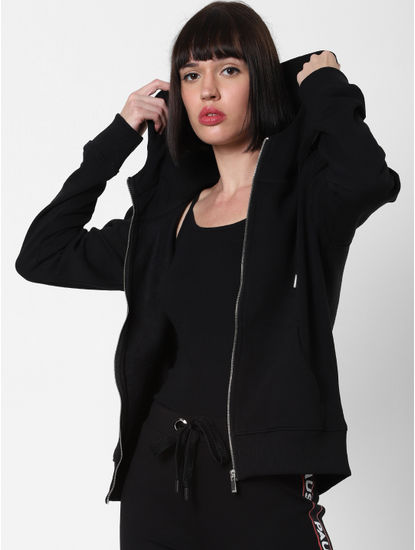 Black Zip Up Hooded Sweatshirt
