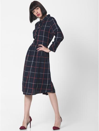 Navy Blue Check Midi Dress