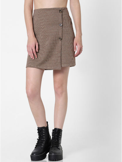 Brown Mid Rise Check Skirt