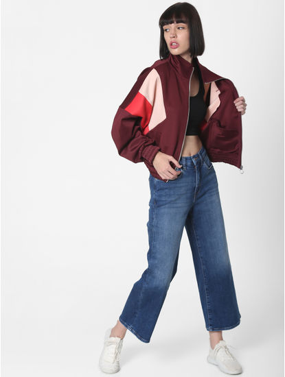 Burgundy Colourblocked Zip Up Sweatshirt