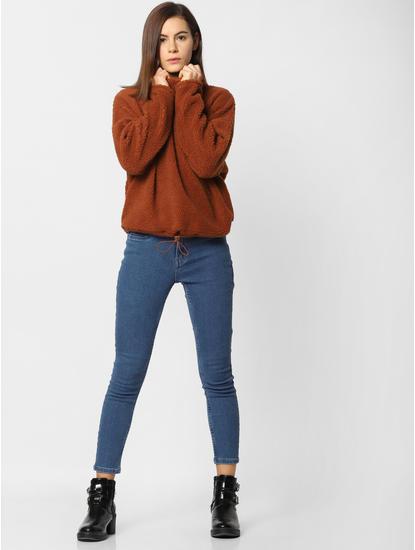 Brown High Neck Sweatshirt