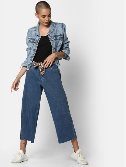 Blue Mid Rise Wide Leg Jeans