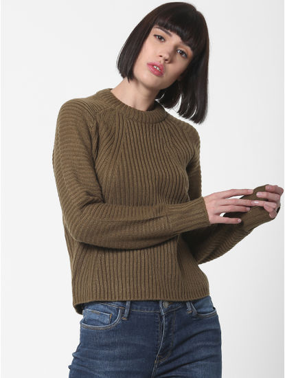 Dark Brown High Neck Pullover