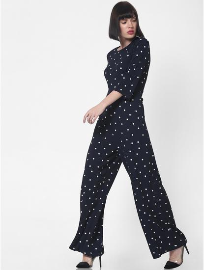 Navy Blue Polka Dot Print Jumpsuit