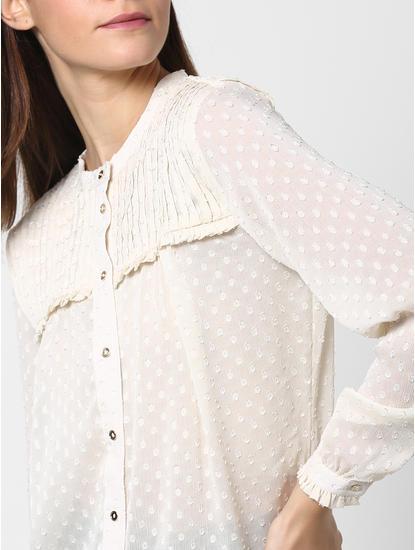 Cream Pleated Top