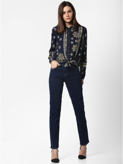 Navy Blue Printed Front Knot Shirt