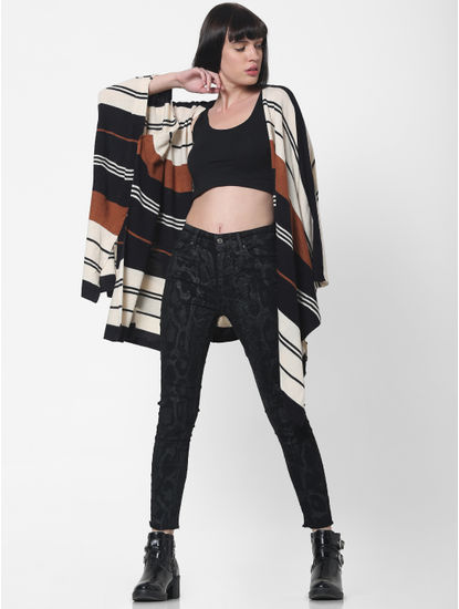 Black Striped Loose Fit Poncho