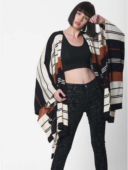 Black Striped Loose Fit Poncho
