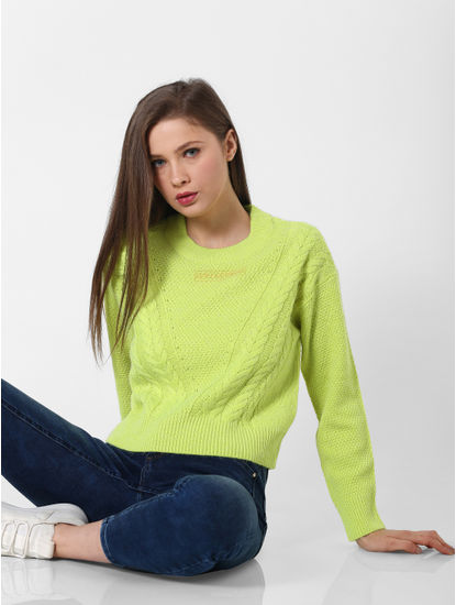 Neon Green Textured Pullover