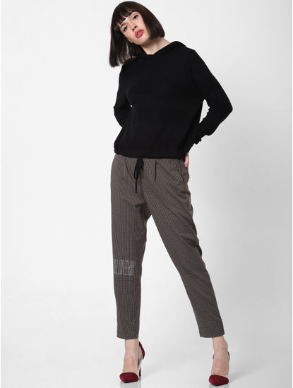 Brown Mid Rise Check Drawstring Pants
