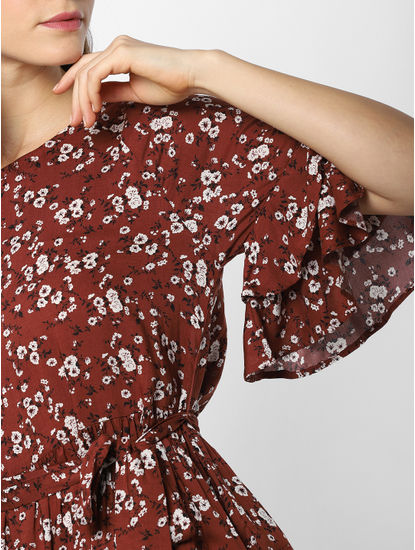 Dark Brown Floral Print Fit & Flare Dress