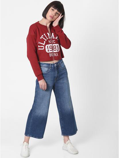 Dark Red Printed Cropped Sweatshirt