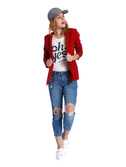 Blue Mid Rise Knee Ripped Regular Fit Jeans