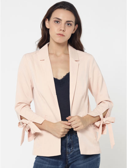 Light Pink Bow Detail Blazer