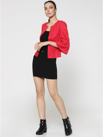 Red Faux Suede Jacket