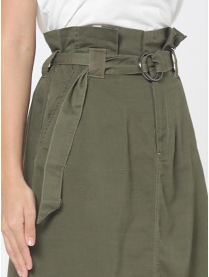 Green High Rise Paperbag Waist Skirt