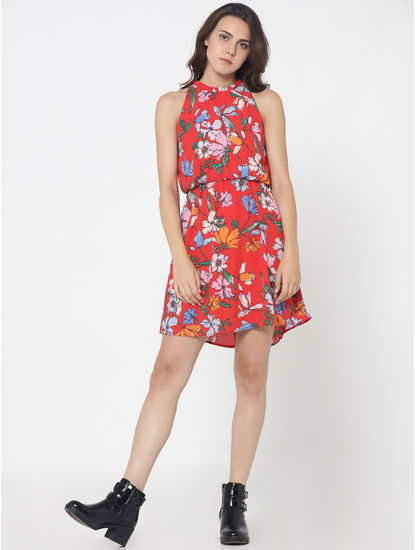Red Floral Print Fit & Flare Dress