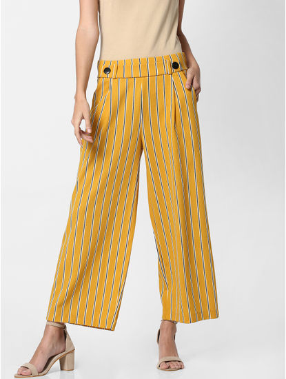 Mustard Mid Rise Striped Pants